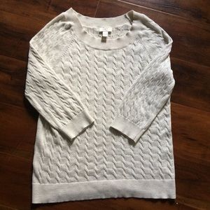 LOFT Cream metallic cable knit Sweater XL